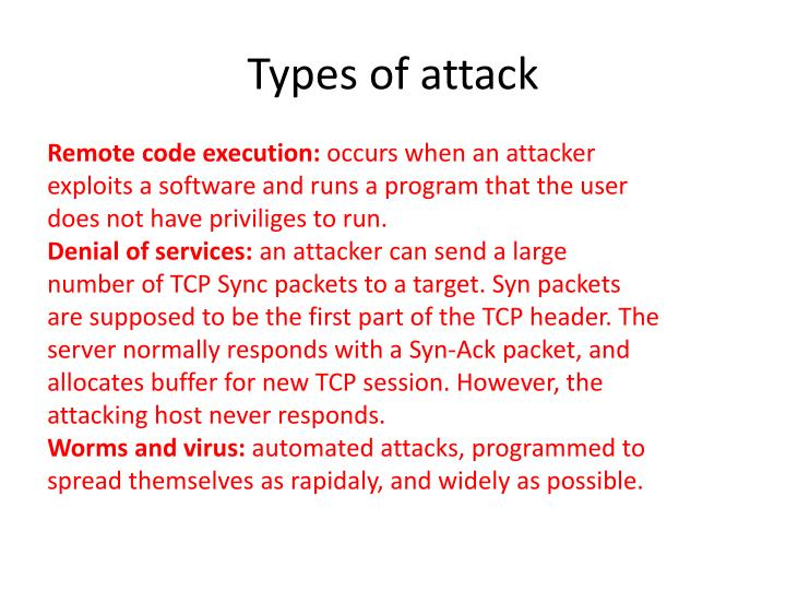 Types of attack