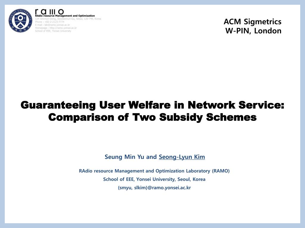 PPT - Guaranteeing User Welfare in Network Service