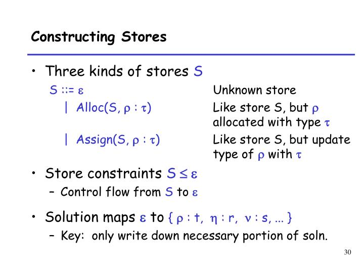 Constructing Stores