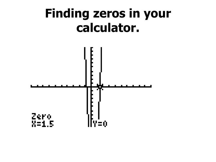 Finding zeros in your calculator.