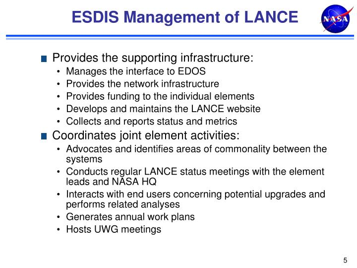 ESDIS Management of LANCE