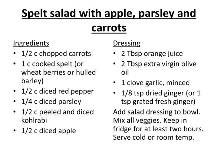 Spelt salad with apple, parsley and carrots