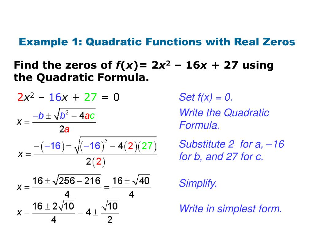 simplest form functions  PPT - Quadratic formula PowerPoint Presentation, free ...