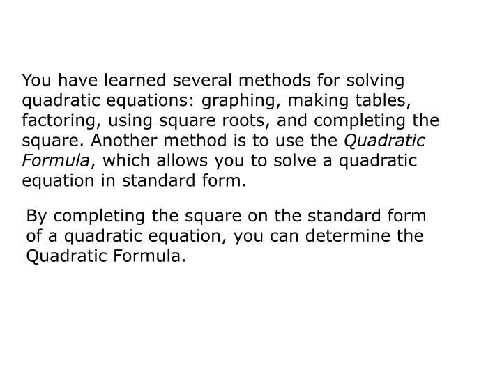 Ppt Quadratic Formula Powerpoint Presentation Id2385372