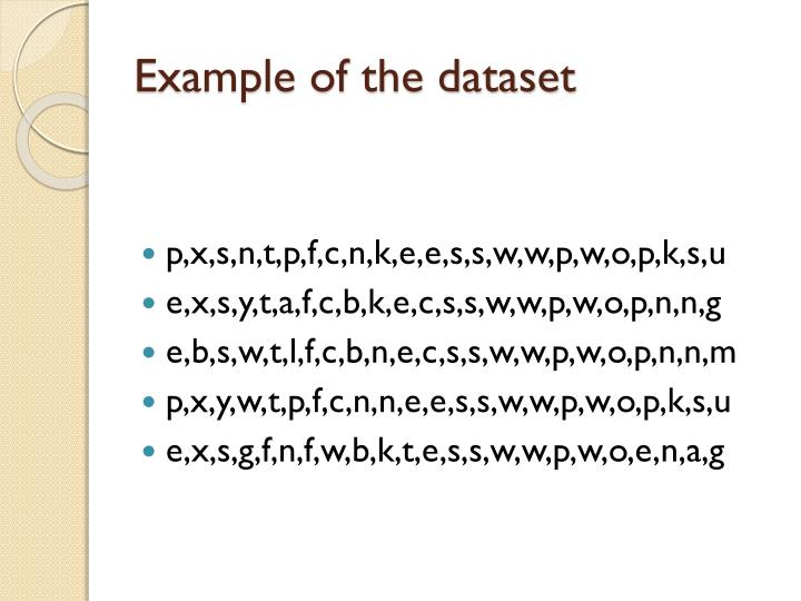 Example of the dataset