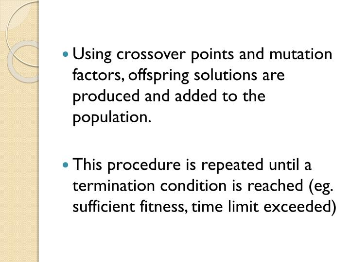 Using crossover points and mutation factors, offspring solutions are produced and added to the population.