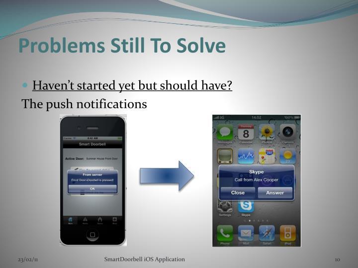 Problems Still To Solve