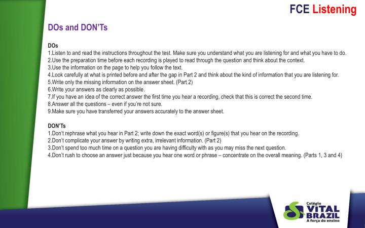 DOs and DON'Ts
