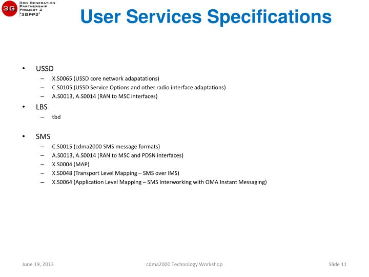 User Services Specifications
