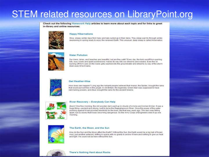 STEM related resources on LibraryPoint.org
