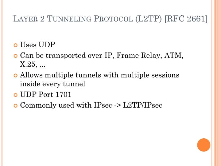Layer 2 Tunneling Protocol (L2TP) [RFC 2661]