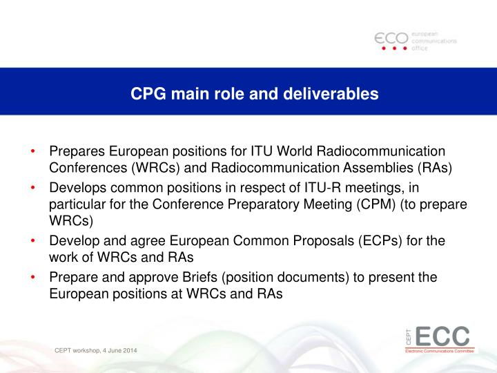 CPG main role and deliverables
