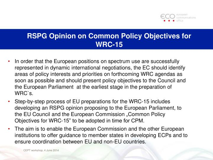 RSPG Opinion on Common Policy Objectives for WRC-15