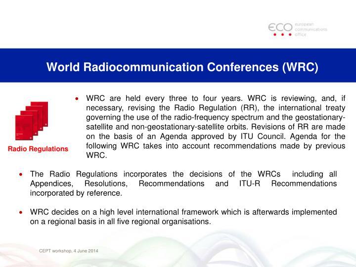 World radiocommunication conferences wrc