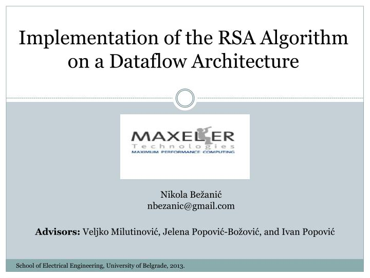 implementation of the rsa algorithm on a dataflow architecture n.