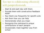 ten tips to collaborating effectively with paraprofessionals