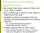 welcoming acknowledging paraprofessionals