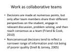 work as collaborative teams