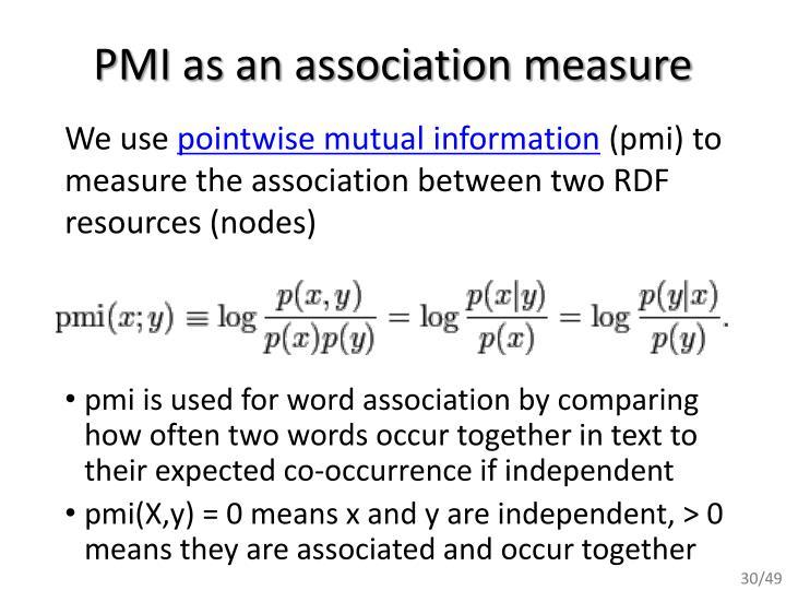 PMI as an association measure