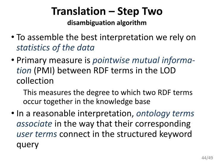 Translation – Step Two