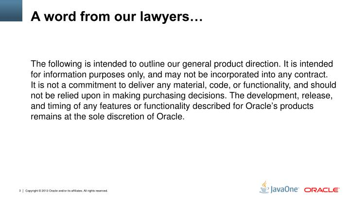 A word from our lawyers