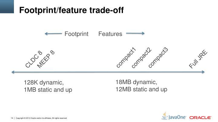 Footprint/feature trade-off