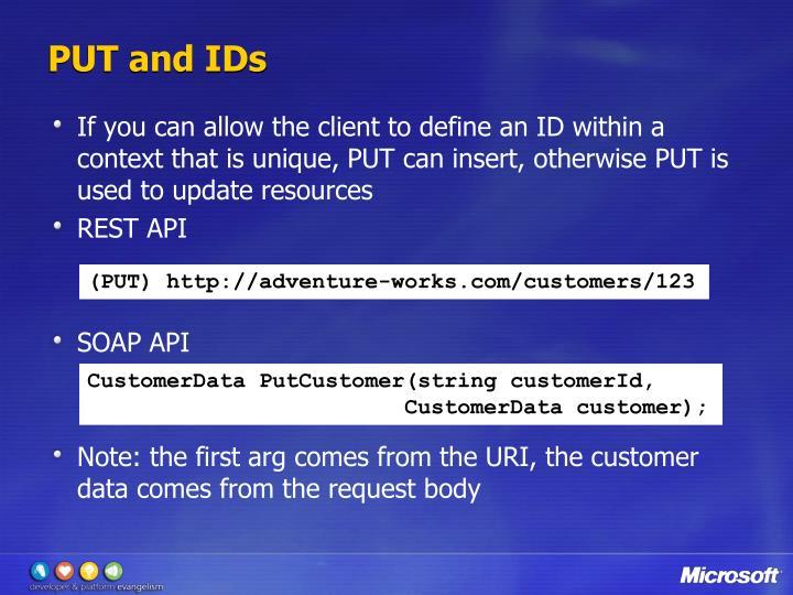 PUT and IDs