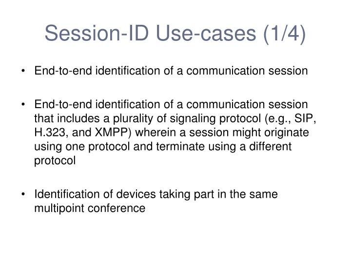 Session-ID Use-cases (1/4)