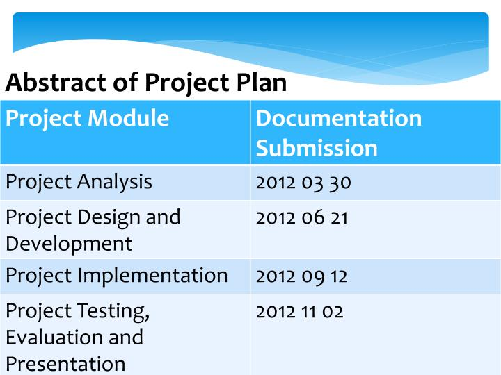 Abstract of Project Plan