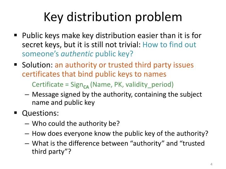 Key distribution problem