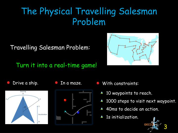 The physical travelling salesman problem