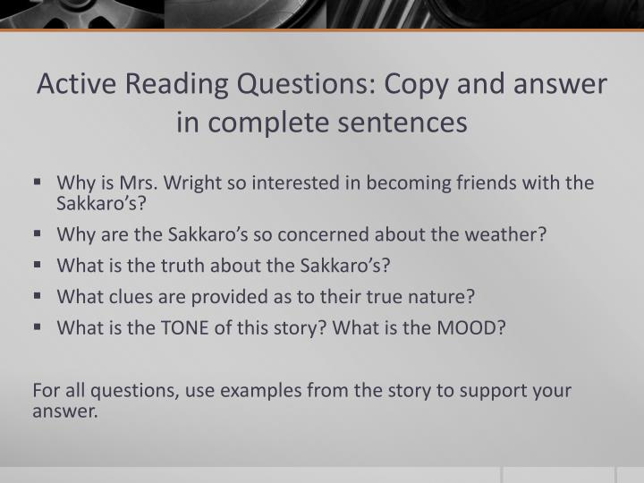 Active Reading Questions: Copy and answer in complete