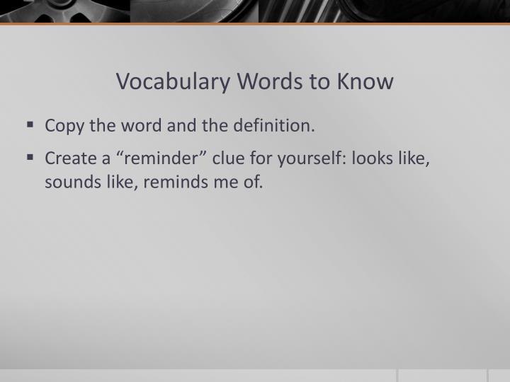 Vocabulary Words to Know