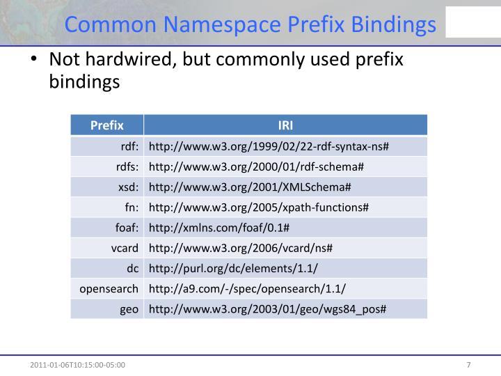 Common Namespace Prefix Bindings