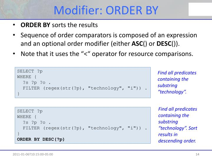 Modifier: ORDER BY