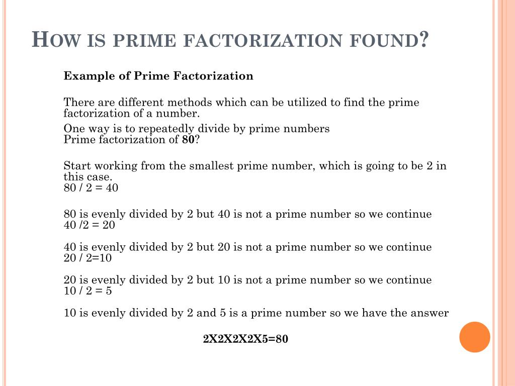 PPT - Prime factorization and its application to cryptography