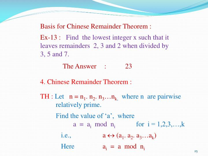 Basis for Chinese Remainder Theorem :