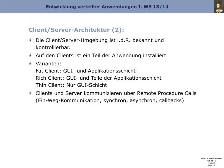 Client/Server-Architektur (2):