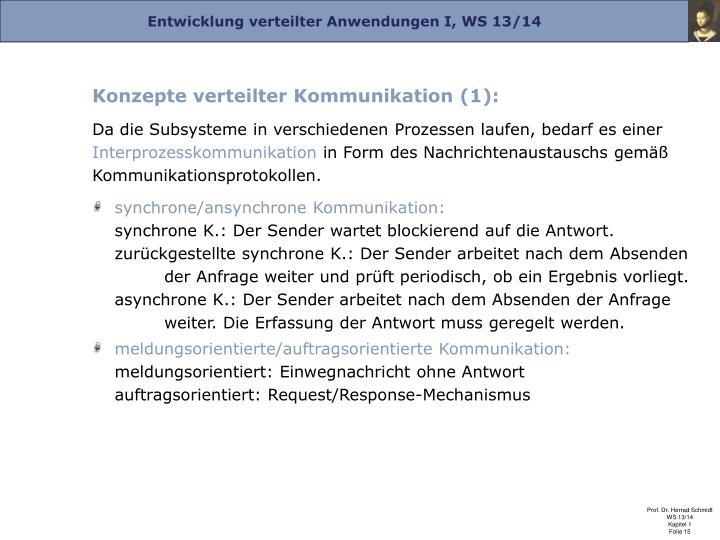 Konzepte verteilter Kommunikation (1):