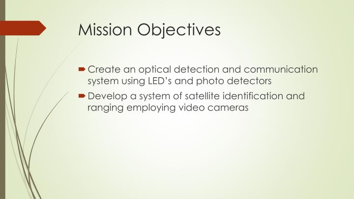 Mission objectives