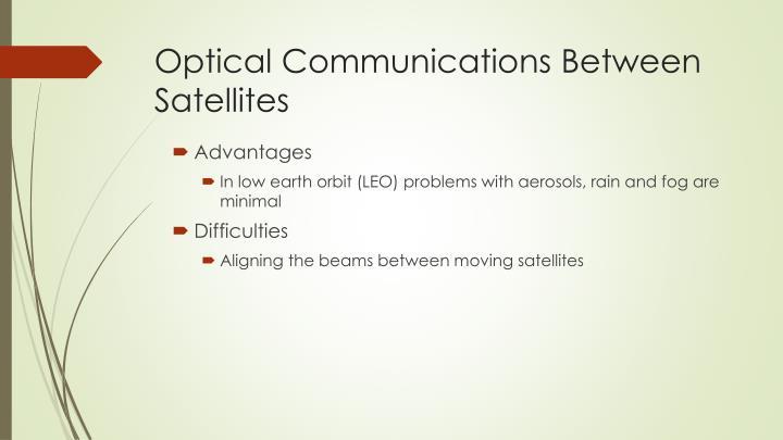 Optical Communications Between Satellites