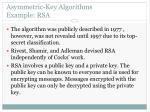 asymmetric key algorithms example rsa