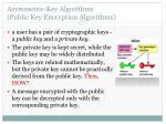 asymmetric key algorithms public key encryption algorithms