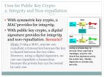 uses for public key crypto 2 integrity and non repudiation