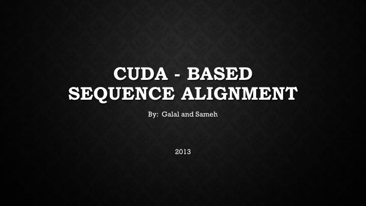 cuda based sequence alignment n.