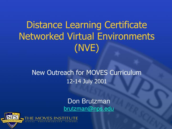 Distance learning certificate networked virtual environments nve