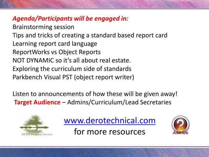 Agenda/Participants will be engaged in:
