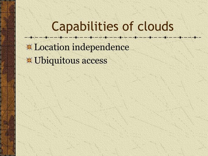 Capabilities of