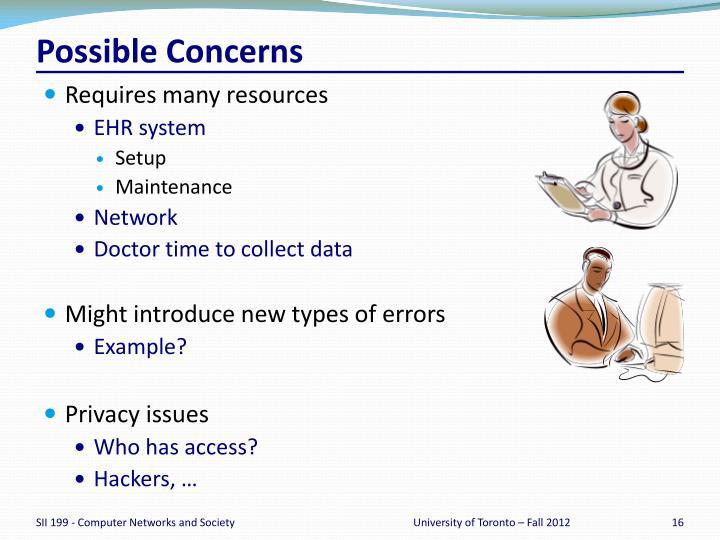 Possible Concerns