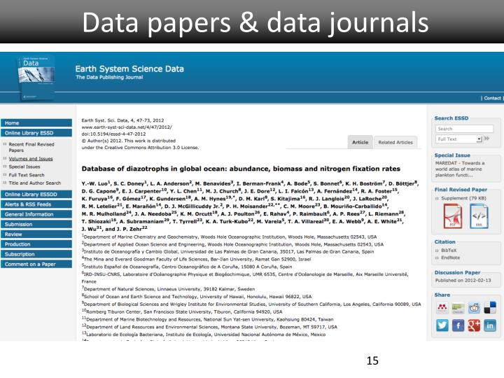 Data papers & data journals